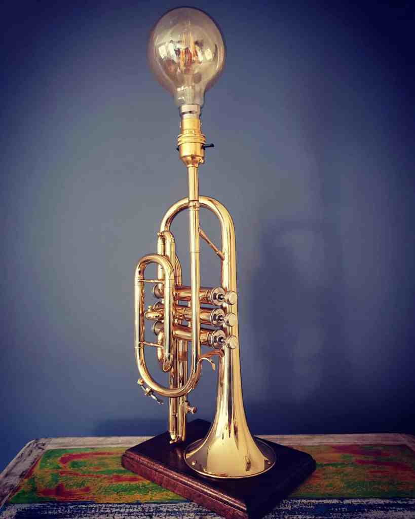 upcycled trumpet light