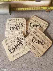 sheet music DIY coasters gift