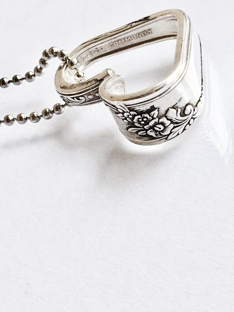 Heart Necklace made of Silverware on Etsy