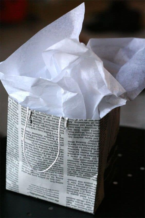how to make a gift bag out of newspaper
