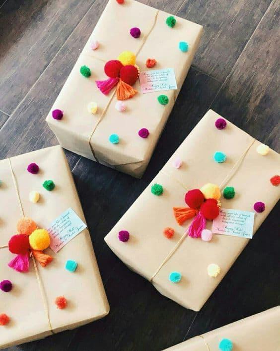 Kraft paper gift wrap ideas for kids