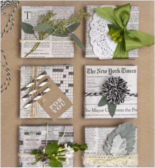 upcycled newspaper gift wrap ideas