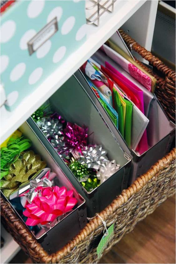 organize wrapping paper with magazine files