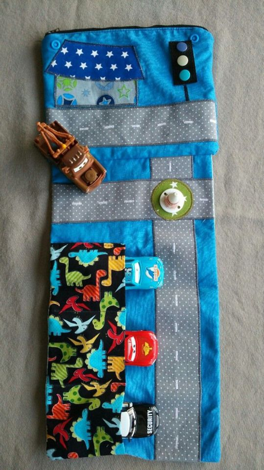 upcycle fabric scraps into a play mat for toy cars