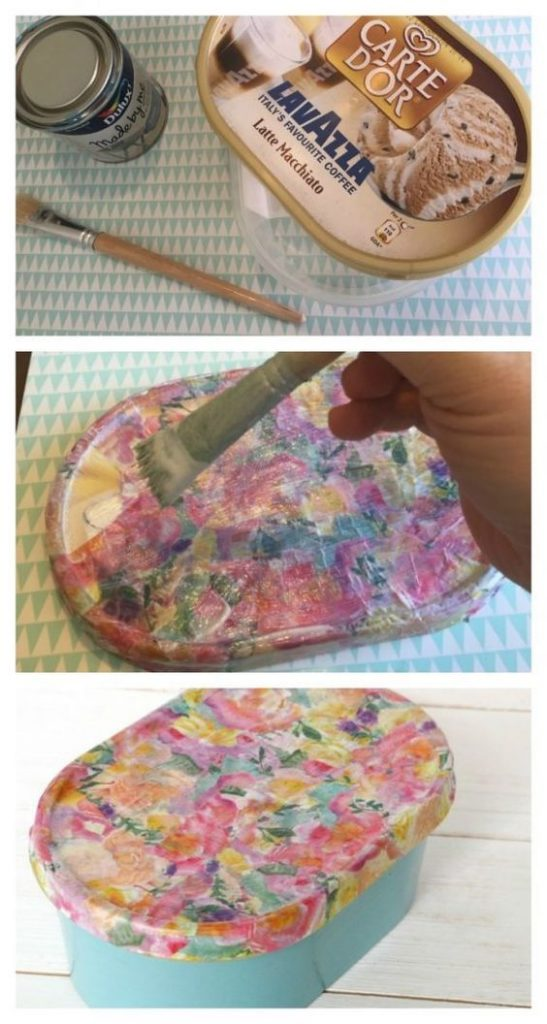 decoupaged ice cream container as gift box