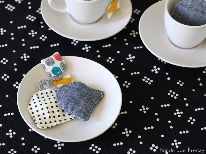 play tea bags from fabric scraps