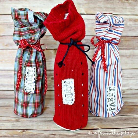 how to make a wine bottle bag from a sweater