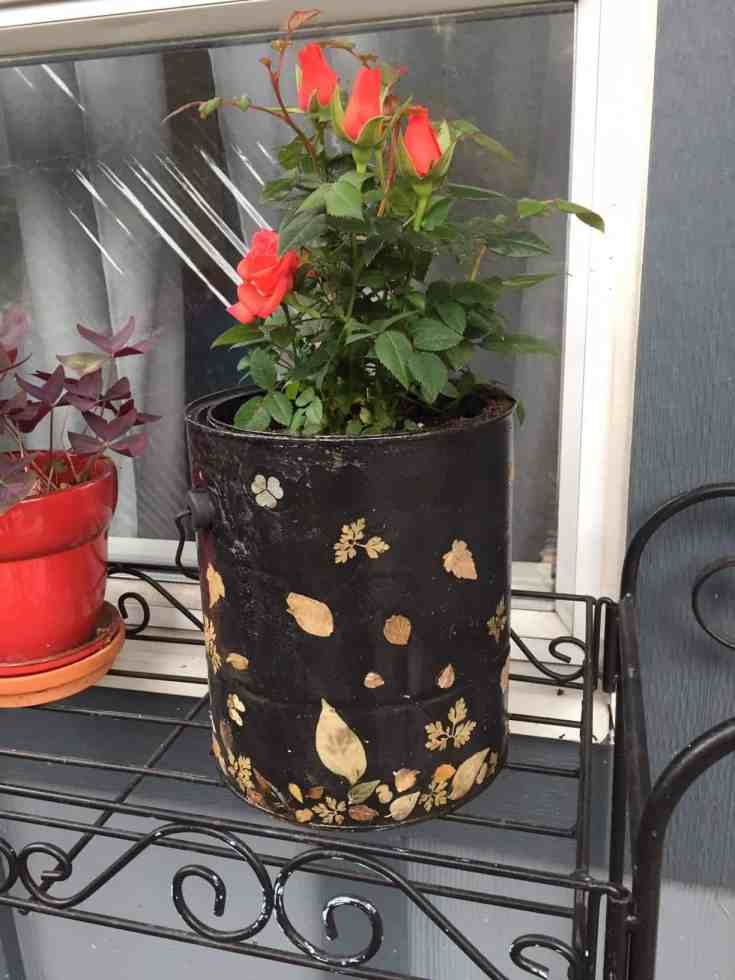 How to upcycle empty paint cans into an outdoor planter using petals and leaves as decoration. A fun DIY project to save your old paint cans from disposal and turn your trash into treasure!