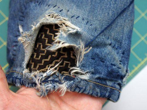 Sashiko Stitched Fabric Jeans