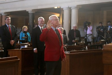 Jim Doggett was sworn in as the Legislature's chief sergeant-at-arms.