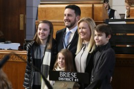 <a href='http://news.legislature.ne.gov/dist06' target='_blank' title='Link to the website of Sen. Theresa Thibodeau'>Sen. Theresa Thibodeau</a>, newly appointed senator for District 6, poses for a picture with her family.
