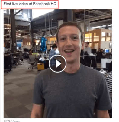 Mark Zuckerberg live video at Facebook HQ