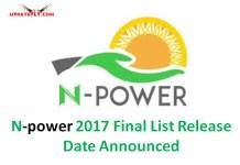 N-power 2017 Final List Release Date