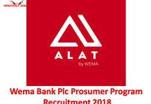 Wema Bank Plc Prosumer Program Recruitment 2018