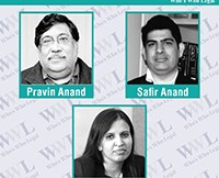 Whos Who Legal - Pravin Anand, Safir Anand and Archana Shanker of Anand and Anand