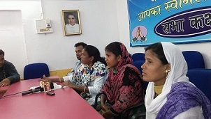 (From Left to Right) Soni Sori, Hemla Hira and Hemla Bhime holding a press conference in Jagdalpur, the district headquarters of Bastar, about this incident.