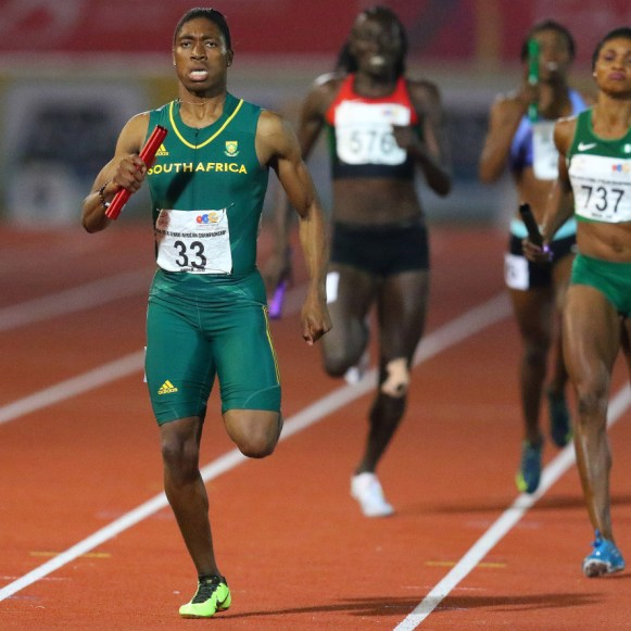 South Africa Caster Semenya runs as she wins the 4x400m finals for women during day 5 of the Confederation of African Athletics (CAA) Championships held in Durban, on June 26, 2016. / AFP / Anesh Debiky (Photo credit should read ANESH DEBIKY/AFP/Getty Images)