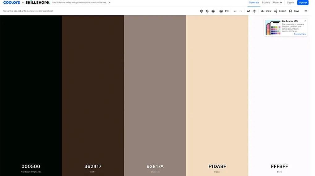 Générateur de palette de couleurs Coolors