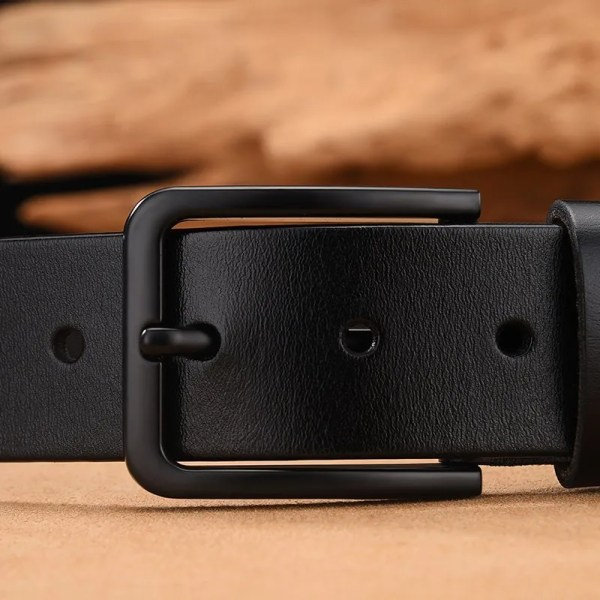 Men's Genuine Cow Leather Luxury Strap Belt with Pin Buckle 5