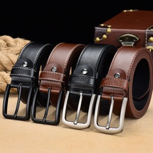 Men's Genuine Leather Belt with Luxury Pin Buckle