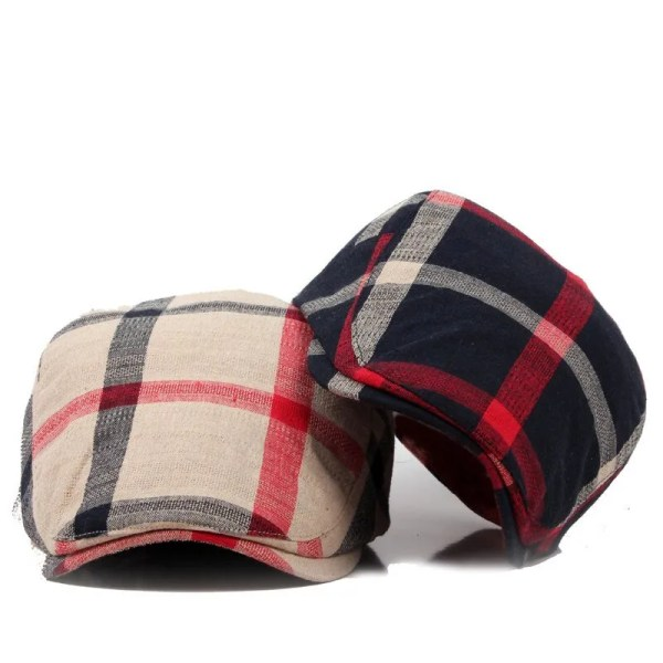 Classic England Style Plaid Berets Caps for Men and Women 2