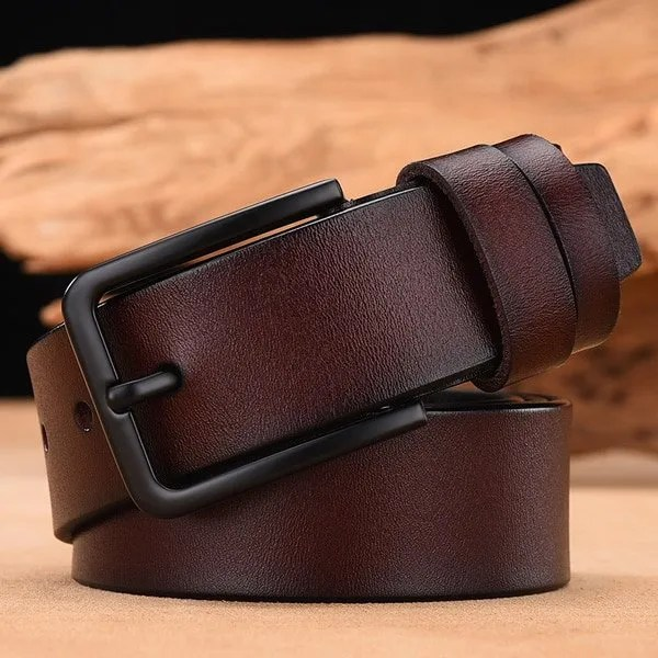 Men's Genuine Cow Leather Luxury Strap Belt with Pin Buckle 10