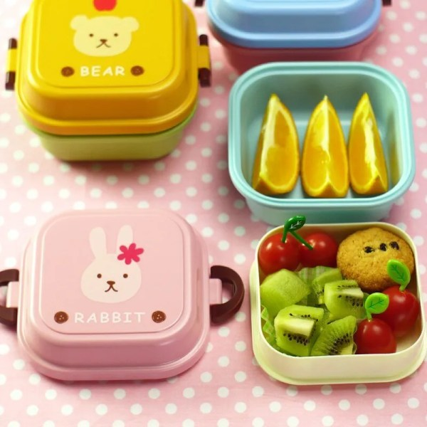 Children Cartoon Style Healthy Plastic Microwave Lunch Box 4
