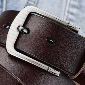 Men's Genuine Leather Fashion Belt with Pin Buckle