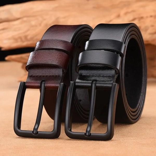Men's Genuine Cow Leather Luxury Strap Belt with Pin Buckle 2