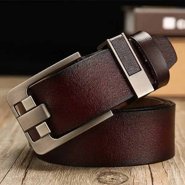 Men's Genuine Leather Belt with Luxury Pin Buckle 6