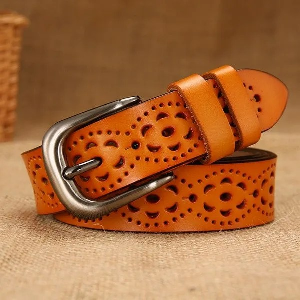New Women Fashion Wide Genuine Leather Belt for Jeans 10