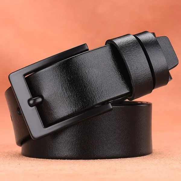 Men's Genuine Cow Leather Luxury Strap Belt with Pin Buckle 8
