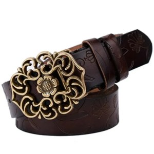 Top Quality Women Genuine Cow Skin Fashion Floral Curved Buckle Belt