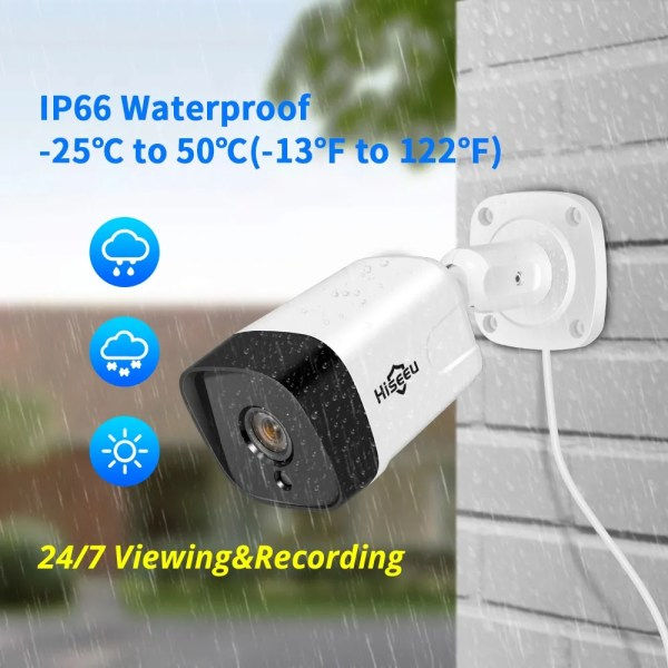 Hiseeu 5MP 2MP Surveillance POE IP Outdoor Security Camera 2