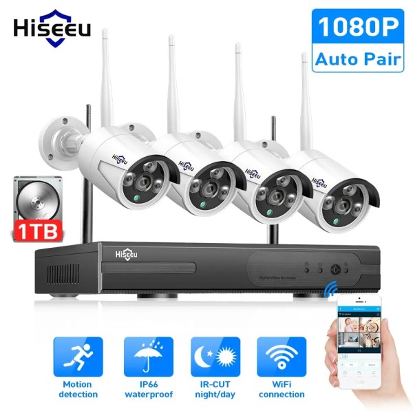 Hiseeu 8CH Wireless CCTV Security System 1