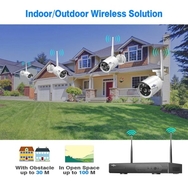 Hiseeu 8CH Wireless CCTV Security System 4