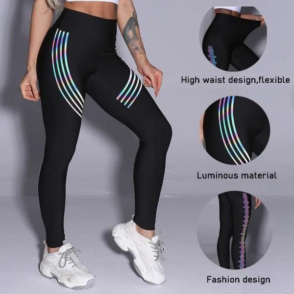Women's Casual Yoga Pants Luminous Material Printed Slim Fitness Leggings Sexy Stretch Elastic Pants Running Push Up Trousers