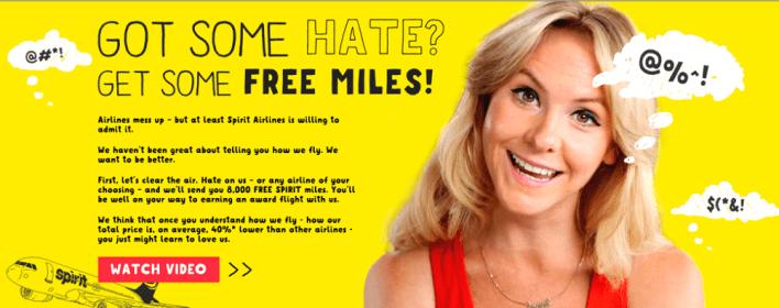 unleash hate on free spirit earn miles