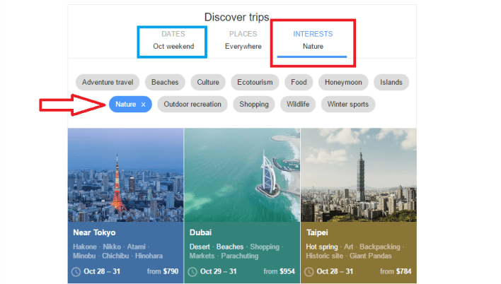 Google Flights Discover Destinations Using Interests