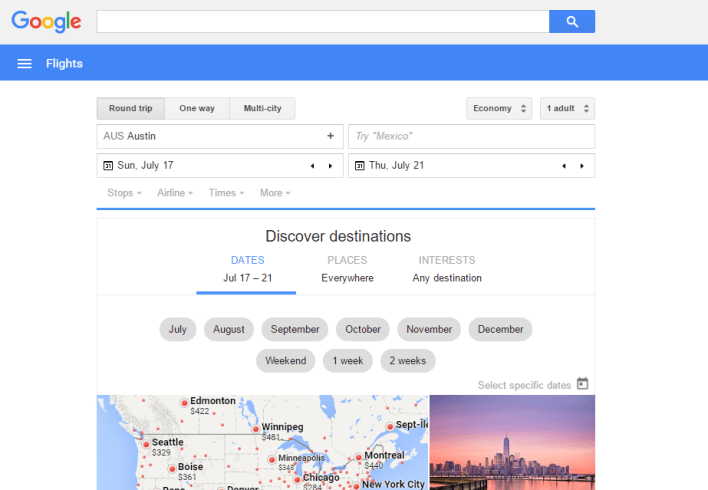 Google Flights Home Screen