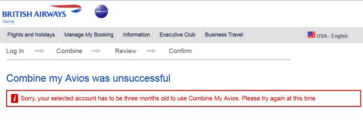 British Airways Combine My Points Unsuccessful