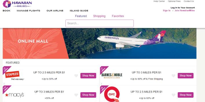 hawaiian airlines online mall
