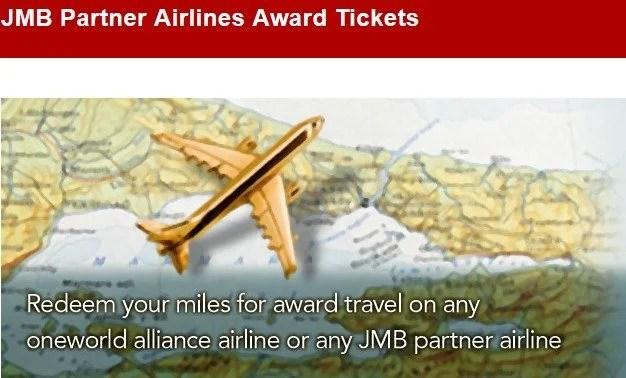 JMB Partner Airlines Award Tickets