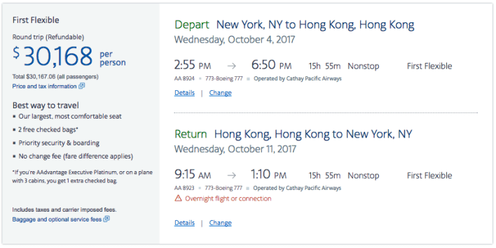Cathay Pacific First Class Ticket Price