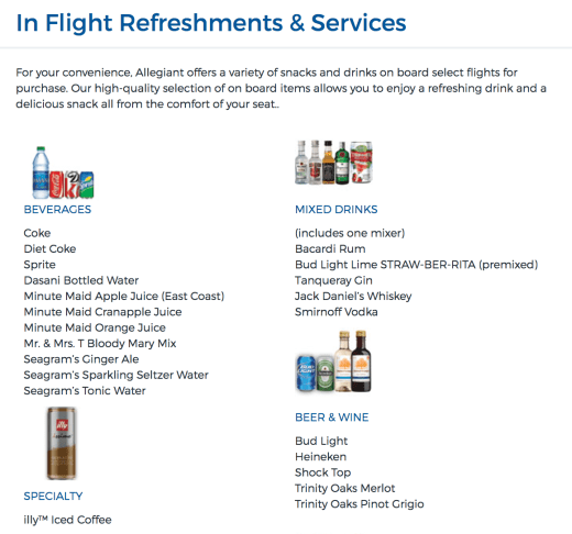 Allegiant In Flight Refreshments