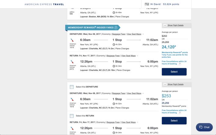 American Express Travel Membership Rewards Points Insider Fares