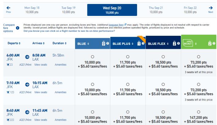 JetBlue JFK-LAX points results