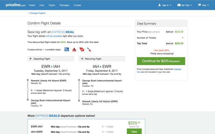 Priceline flight Express Deal details