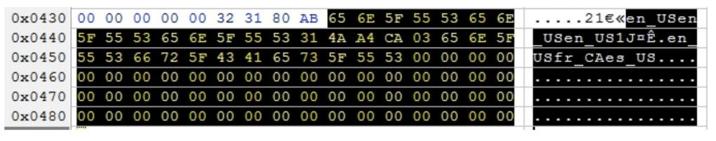 EEPROM - Languages US version.