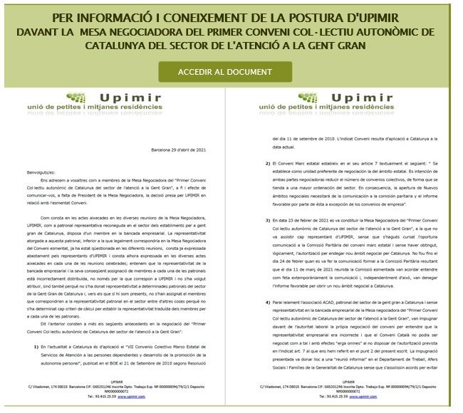 POSTURA D'UPIMIR  DAVANT LA MESA NEGOCIADORA DEL PRIMER CONVENI COL·LECTIU AUTONÒMIC DE CATALUNYA DEL SECTOR DE L'ATENCIÓ A LA GENT GRAN